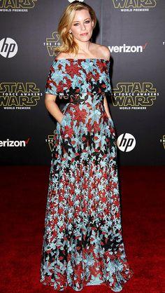 Elizabeth Banks in a floral off-the-shoulder Elie Saab dress