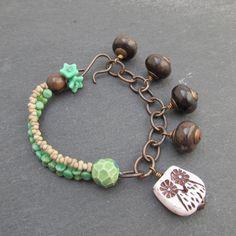 Owl charm bracelet. artisan beaded bracelet owl by BeadyDaze, £25.00