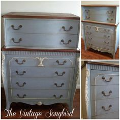 The Vintage Songbird used Annie Sloan Chalk Paint® decorative paint by Annie Sloan. Blend of Paris Grey, French Linen and Aubusson Blue for this dresser.