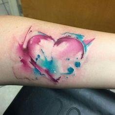 Watercolor Heart Tattoo.