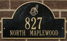 """Cleveland Indians Black & Gold Personalized Address Plaque-wall by Riddell. $99.99. Plaque Dimensions: W 15.5"""" x H 9"""", Weather-resistant, cast aluminum, Includes screws for wall mounting. Improve curb appeal with this Black and Gold cast metal plaque featuring  Cleveland Indians logo and personalized address.  Durable, quality construction designed to withstand outdoor elements.  Screws for wall mounting included. Officially licensed by MLB."""