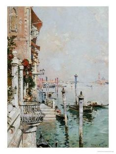 """Franz Richard Unterberger, """"Blick über den Canal Grande"""", (""""Venice View From A Canal Across The Grand Canal Towards The Church Of San Giorgio"""") Grand Canal Venice, Venice Painting, Art Watercolor, Santa Lucia, Beach Landscape, Canvas Prints, Art Prints, Les Oeuvres, Framed Artwork"""