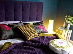 steel symphony dulux 1 paint inky blue walls bedroom. Hand knitted accessories by me. Ava Bed by Livingitup purple tuffed headboard. Designer guild pillows cushion throw woolly