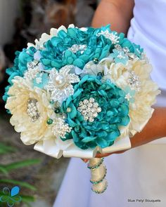Sand & Sea Dahlia - Blue Petyl Bouquets Like this.