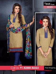 Dark Skin And Blue New Chanderi Suit @ Rs 849/- Only Shop Now :- http://enasasta.com/deal/dark-skin-and-blue-new-chanderi-suit OR Call/WhatsAp-8288886065  Product Info ESC34P3  Deal is Valid For Today Only  Fabric Top: Chanderi Cotton  Bottom: Cotton  Dupatta : Nazneen Print  Fabric Semi Stitched  Get 5 % Extra Discount for Advance Payment via PayUMoney  Cash On Delivery Available !! FREE Shipping All Over India!!