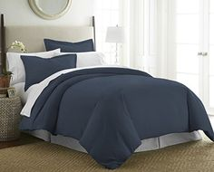 1800 Series 3 Piece Duvet Cover Set by Becky Cameron - Double-Brushed Microfiber - Twin/Twin Extra Long, Navy