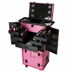 Pink-Professional-Travel-Aluminum-Rolling-Cosmetic-Case-Makeup-Lighting-Studio
