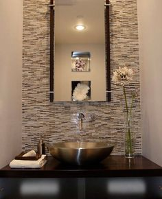 Modern Powder Room Small Bathroom Design, Pictures, Remodel, Decor and Ideas Modern Powder Rooms, Modern Room, Small Powder Rooms, Modern Spaces, Bad Inspiration, Bathroom Inspiration, Powder Room Design, Wall Mount Faucet, Chic Bathrooms