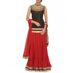Red and Black Lengha with Multi Layer Embroidery
