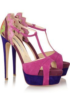 Brian Atwood  Maia suede and stingray T-bar sandals