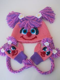 Abby Cadabby  Hat and gloves Crochet Baby  Hat by myknittingworld, $50.00