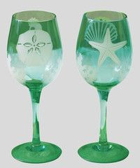 Sea Shell Etched Wine Gles Painted Gl