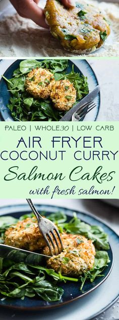 Low Carb Air Fryer Coconut Curry Salmon Cakes - These gluten free salmon cakes are made in the air fryer so they're juicy and SO crispy without all the oil! A healthy, paleo friendly, grain/dairy/sugar free meal that is low carb! Easy Whole 30 Recipes, Paleo Whole 30, Whole Food Recipes, Healthy Recipes, Air Fryer Recipes Gluten Free, Healthy Options, Yummy Recipes, Keto Recipes, Paleo Salmon Cakes