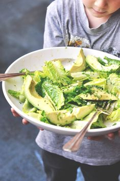 Avocado and Romaine Salad. This salad is all about the dressing. /