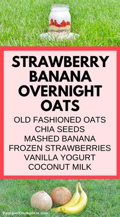 EASY healthy strawberry banana chia overnight oats with coconut milk :: Fruit breakfast ideas Strawberry Overnight Oats, Banana Overnight Oats, Strawberry Banana, Overnite Oats, Overnight Breakfast, Clean Eating Oatmeal, Clean Eating Breakfast, Easy Healthy Breakfast, Eating Clean
