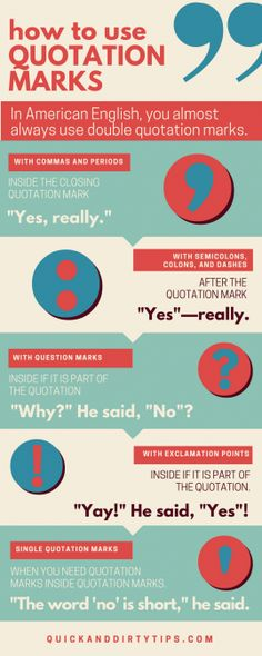 Click through for a deeper explanation and more examples of how to use quotation marks with other punctuation.