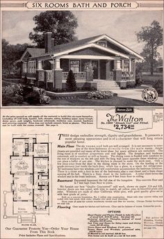 1923 Sears Modern Home - Walton ~ As Craftsman-style bungalow kit homes go, the Walton combines a pleasing plan with excellent design and ornament. The large porch allows for an outdoor room during the warm season and inside, living spaces are generous fo Craftsman Style Bungalow, Bungalow House Plans, Craftsman Bungalows, Craftsman House Plans, Small House Plans, House Floor Plans, Craftsman Homes, Sears Craftsman, Bungalow Designs