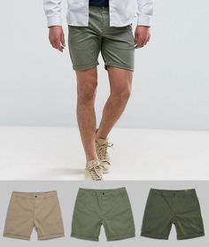 ASOS 3 Pack Slim Chino Shorts In Stone Dark Khaki & Light Green SAVE -