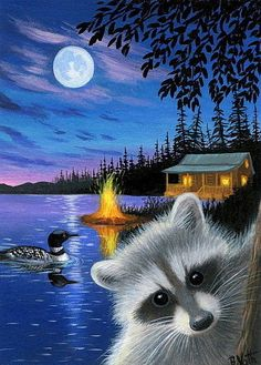 Raccoon loon cabin lake moon summer night landscape original aceo painting art in Wildlife Paintings, Wildlife Art, Animal Paintings, Animal Drawings, Stencil, Illustrations, Pictures To Paint, Painting & Drawing, Rock Painting