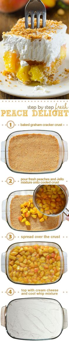 Fresh Peach Delight is a refreshing layered dessert - graham cracker crust is followed by a layer of fresh peach and jello filling, finished with a layer of cream cheese and cool whip mixture sprinkle with graham cracker crumbs on top. #peach #dessert by becky