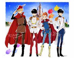 Hanazawa Teruki, Kageyama Shigeo, Suzuki Shou, and Kageyama Ritsu - Sleeping Beauty, Little Mermaid, Snow White, and Cinderella #parody #fullbody
