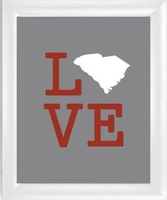 Love South Carolina - SC - 8x10 Wall Art