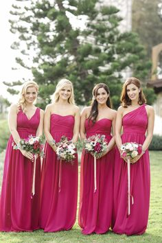 Desiree Hartsock's beautiful bridesmaids in Berry Bouquet // Donna Morgan bridesmaid dresses