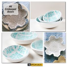 Embossed Bowls created with Air Dry Clay! Beautiful embossed bowls made with stamps or antique doileys.Click here to see more! {http://myopblog.com/2015/10/01/12-beautiful-projects-to-make-with-air-dry-clay/}