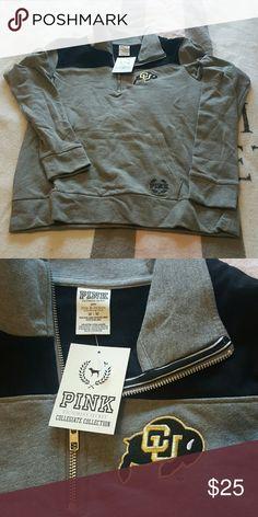 Sweat shirt Black and grey Colorado University zipper front sweat shirt PINK Victoria's Secret Sweaters