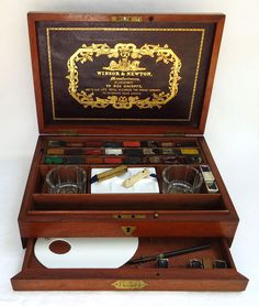 Great! // Winsor  Newton artists watercolor paint box around 1862 with unused paint from that era.