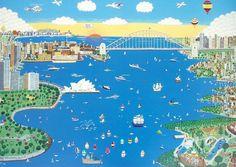 Sydney (Super City) Print by Naïve Artist Katy Edwards.