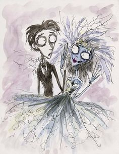Tim Burton original concept artwork of Victor and Emily from Corpse Bride