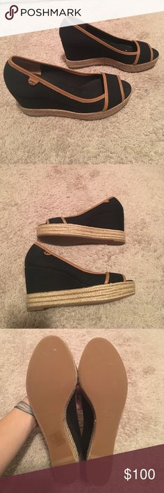 Tory Burch peep toe wedges Black material with tan trim- perfect condition. Worn maybe twice! Excellent condition and perfect for so many seasons and outfits Tory Burch Shoes Wedges