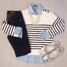 Denim on denim - J. Crew striped sweatshirt, dark denim, chambray shirt and pearl strand necklace. Tory Burch silver Reva flats