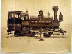 "1875 image of steam locomotive ""WM H. Glenny. #2 Mc K & B.R.R."" (Maine Historical Society)"