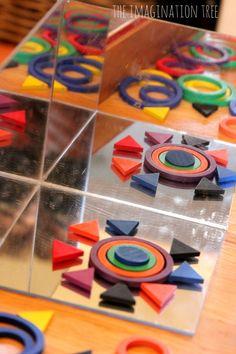 Exploring Shapes and Patterns on a Mirror Box - The Imagination Tree Reggio Emilia, Reggio Inspired Classrooms, Reggio Classroom, Preschool Literacy, Kindergarten Activities, Play Based Learning, Early Learning, Kids Learning, Montessori