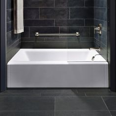 Bathtub: clean lines, cast iron, $700 KOHLER Bellwether 5 ft. Right-Hand Drain Cast-Iron Soaking Tub in White-K-876-0 at The Home Depot