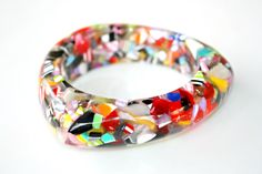 Candy Confetti Bangle Bracelet - Triangular Shaped Bangle Complete with Multicolor Acrylic Chips by Mei Faith. $36.00, via Etsy.