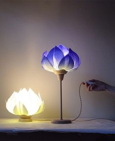 Artist and designer Sachie Muramatsu creates delicate lamp shades that resemble flowers and are made from traditional Japanese washi paper Shade Flowers, Diy Flowers, Paper Flowers, Flowers Garden, Exotic Flowers, Purple Flowers, Flower Lamp, Flower Lights, Cactus Flower