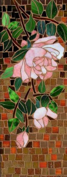 Roses - Stainedglass Mosaics by Fran Stoval Mosaic Flowers, Stained Glass Flowers, Stained Glass Art, Mosaic Designs, Mosaic Patterns, Stained Glass Designs, Stained Glass Patterns, Mosaic Art, Mosaic Glass
