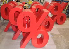 1m high %-signs made for FC Bayern fanshops by www.rechinger.de