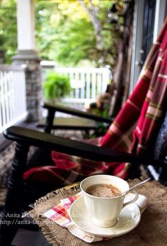 Coffee on the porch. Love having early morning coffee on the patio with J and reading the daily text. #MorningCoffee