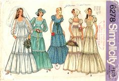 1970s Wedding or Bridesmaid Dress PATTERN Simplicity 6278 Three teirs of Ruffles for the Skirt Square neckline size 12 long sleeve scarf by BlondiesSpot2 on Etsy