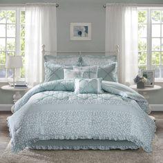 The Gray Barn Sleeping Hills 9-piece Aqua Cotton Percale Comforter Set Bed Comforter Sets, Cotton Bedding Sets, Queen Size Bedding, Bedroom Comforters, Cotton Duvet, Bed Rooms, Aqua Bedding, Floral Comforter, Blue Duvet