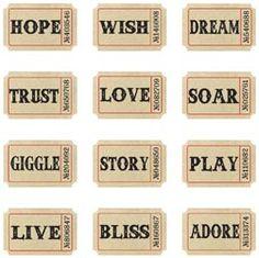 *Tim Holtz Idea-ology ADAGE TICKETS Token Words Paper Printable Tickets, Printable Paper, Vintage Labels, Vintage Postcards, Vintage Photos, Tim Holtz, Word Collage, Collage Sheet, Papel Scrapbook