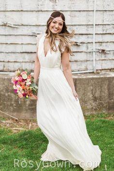 ivory v neckline flutter sleeves ruched a line floor length wedding dress