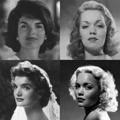A collage to illustrate differences between square and elongated Dramatic Classic faces. Jackie Kennedy has a wide jawline, and Jane Wyman's jawline has the same shape, but it is narrower. All Dramatic Classics have more prominent facial bone structure than Classics; This is expressed in Jackie primarily through her overall width and Jane primarily through her cheekbones and length. Other Dramatic Classics can have facial bone structure that's distributed slightly differently.