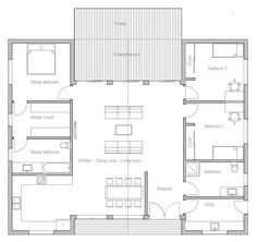 Square but great ope layout and bedroom layout - also front to back for views and patio