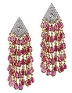 Parulina Arabian Nights Collection pink tourmaline diamond earrings
