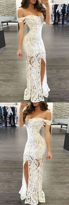 White Prom Dress - Sheath Off-the-Shoulder Long Lace with Split